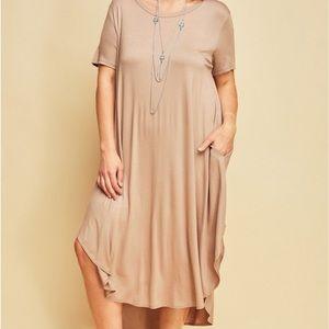 Dresses & Skirts - PlusSize RoundNeck w/Side Pockets Maxi Dress-Latte
